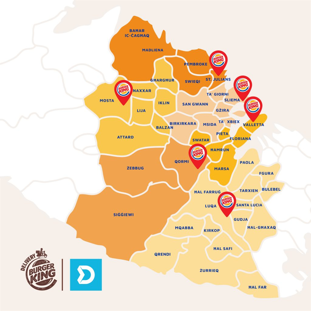 Burger King Malta Delivery Area Map